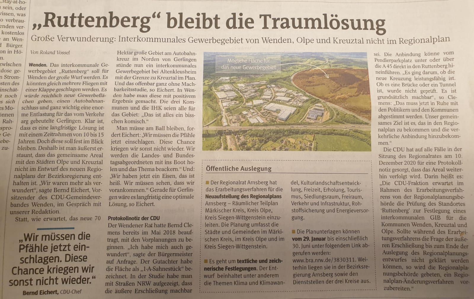 Gewerbegebiet Ruttenberg bleibt unser Favorit